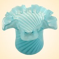 A Small Old Fenton Spiral Optic Blue Opalescent at Vase C1940