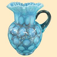 An Antique Fenton Coin Dot Blue Opalescent Pitcher C1915