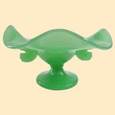 Rare and Beautiful Fenton Jadeite Dolphin Bowl 1930s
