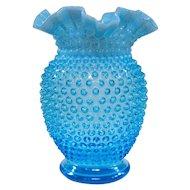 Large Vintage Fenton Blue Opalescent Hobnail Vase