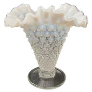 Fenton French Opalescent Hobnail Trumpet Vase Late 1930s