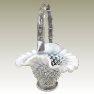 Fenton French Opalescent Hobnail Mini Basket Late 1930s