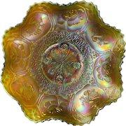 Rare Fenton Dragon and Lotus Green Carnival Glass Bowl Collar Base