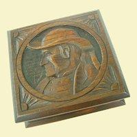 An Excellent Antique European Carved Wooden Folk Art Box
