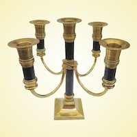An Elegant Vintage Brass Two Tone Candleabra