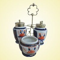 An Excellent German Continental Imari Porcelain EPNS Condiment Set C1860