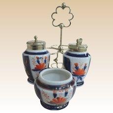 An Excellent German Continental Imari Porcelain EPNS Condiment Set C1860