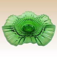 A Green Opalescent Jefferson Glass Barbells Pattern Bowl Circa 1905
