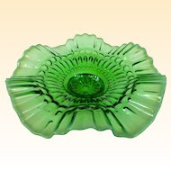 A Green Opalescent Jefferson Glass Barbells Pattern Bowl Circa 1905