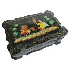 A Small Intricately Painted Russian Lacquer Box