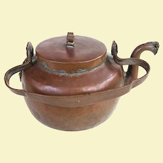 A Very Old Scandinavian Hand Hammered Copper Kettle 19th Century
