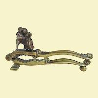 An Unusual Antique English Figural Brass Nutcracker