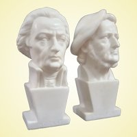 Two Small Vintage Italian Gino Ruggeri Busts of Mozart and Wagner