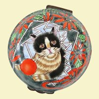 A Cute Vintage Tuxedo Cat Enamel Trinket Box