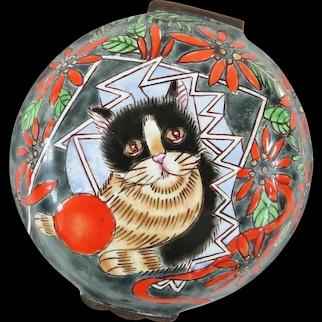 A Cute Vintage Tuxedo Cat Enamel Trinket Box