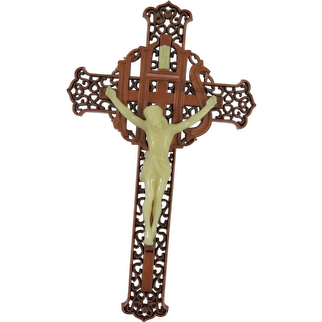 Vintage Plastic Crucifix with Glow In The Dark Christ