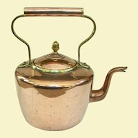 Late Georgian / Early Victorian Copper and Brass English Tea Kettle