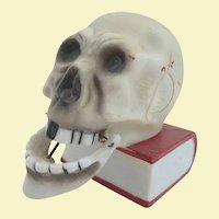 Vintage Made in Japan Articulated Jaw Skull Match Holder