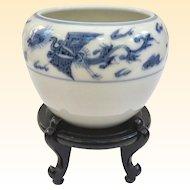 An Antique Blue Underglaze Japanese Porcelain Brush Pot On Stand