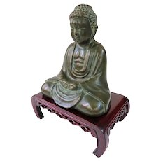 Antique Japanese Bronze Amida Nyorai Buddha With Stand