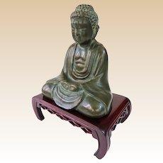 Antique Japanese Bronze Amida Nyorai Buddha With Stand