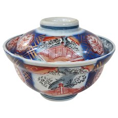 Beautiful Antique Porcelain Imari Covered Rice Bowl
