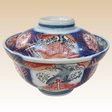 Beautiful Antique Porcelain Imari Covered Rice Bowl