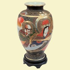 Colorful Antique Satsuma Vase with Guanyin and Rakan, on Stand, C1900