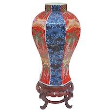 An Unusual Octagonal Meiji Imari Vase on Stand