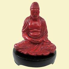 Remarkable and Rare Japanese Cinnabar Dhyana Mudra Meditating Buddha on Stand