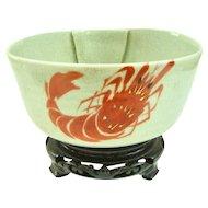 An Antique Japanese Stoneware Prawn Decorated Bowl
