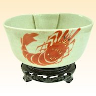 An Antique Japanese Stoneware Prawn Decorated Bowl