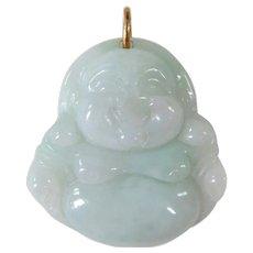 A Pretty Vintage Celedon Green Jade Buddha Pendant