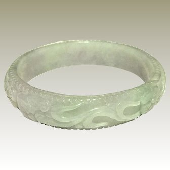 An Antique Carved Chinese Jade Bangle 55.4mm