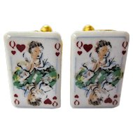 A Great Pair of Vintage Playing Card Cufflinks Queen of Hearts