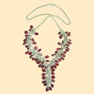 A Spectacular Sterling Silver And Opaline Glass Waterfall Necklace