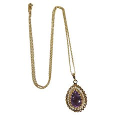 A Beautiful Vintage 14 Karat Gold Amethyst and Seed Pearl Necklace