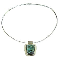 A Vintage Modernist Sterling Silver and Abalone Necklace
