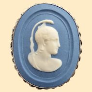 An Antique Jasperware Cameo and Sterling Silver Brooch