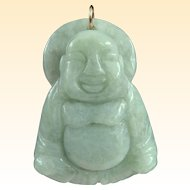 A Large Vintage Jade Buddha Pendant With 14k Gold Jump Ring