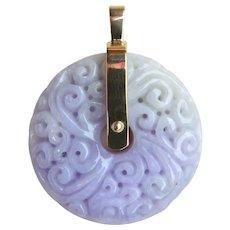 A Stunning Natural Lavender and Celedon Jade Carved Disk Pendant