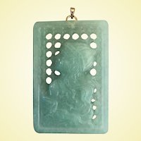 A Large, Unusual Vintage Jadeite Screen Pendant