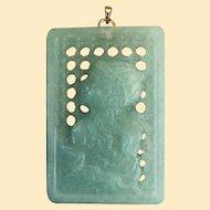 A Large, Unusual Vintage Jadeite Screen Pendant