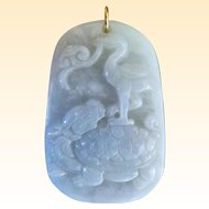 Powerful Chinese Jade Pendant Dragon Turtle, Crane and Lingzhi