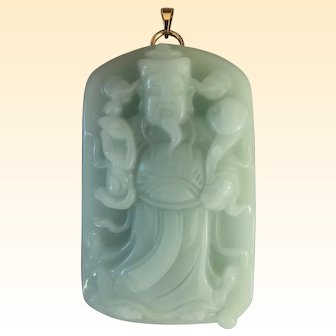 An Outstanding Large Chalcedony Luxing Star God Pendant