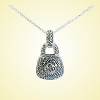 Sterling Silver Mechanical Opening Purse Pendant and Necklace
