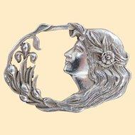 An Elegant Sterling Silver Art Nouveau Brooch