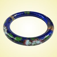 A Pretty Old Cobalt Blue Cloisonne Hinged Bracelet