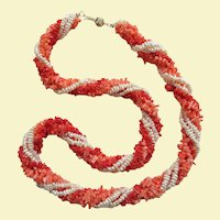 "Classic Vintage 22"" Tri-Color Torsade Cultured Seed Pearl and Coral Necklace"