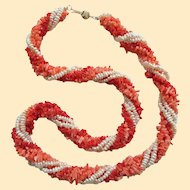"""Classic Vintage 22"""" Tri-Color Torsade Cultured Seed Pearl and Coral Necklace"""